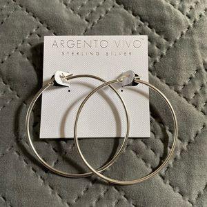 Argento Vivo Sterling Hoop Earrings NWOT